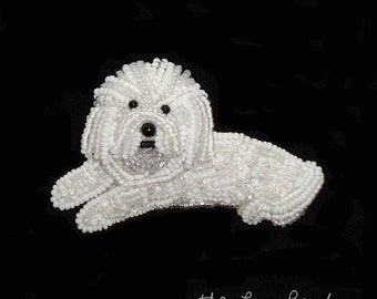 BICHON FRISE beaded keepsake dog art pin pendant jewelry-  Gift for Her (Made to Order) Free US Shipping