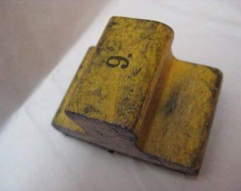 9 Number Stamp Rubber Wood Vintage Nine