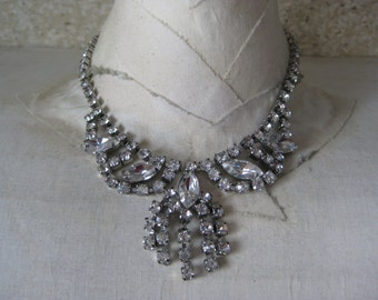Rhinestone Silver Necklace Clear Vintage Dangle Choker