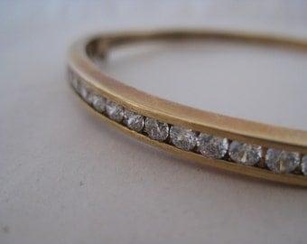 Sterling Gold CZ Bangle Bracelet Vintage Vermeil 925 Hinged Clear
