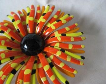 Flower Orange Yellow Black Brooch Enamel Vintage Pin