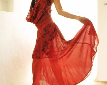 If I could maxi dress...Deep red mix silk...1 dress 10 ways to wear M