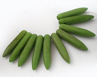 25x5mm Avocado Green Turquoise Spikes Sticks Stone beads 10pcs