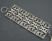 Wide Vintage Bracelet Leaf Jewelry B6393
