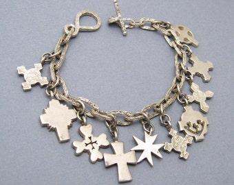 Sterling Cross Charm Bracelet Artisan Vintage Jewelry B6507