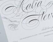 Wedding Invitation, Love Bird Wedding Invitation, Vintage Glam, Calligraphy Invitation DEPOSIT