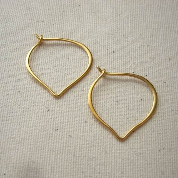 24K Gold Plated Hoop Earrings Lotus Petal Earwires - Pair