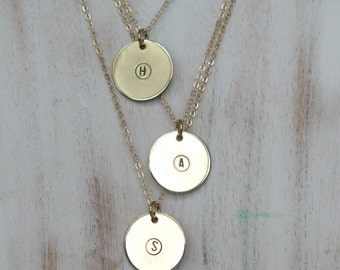 Initial Pendant, Custom Stamped Necklace, Layering, Personalized, Gold Brass Circle, Bridesmaids, Hand Stamped Letter