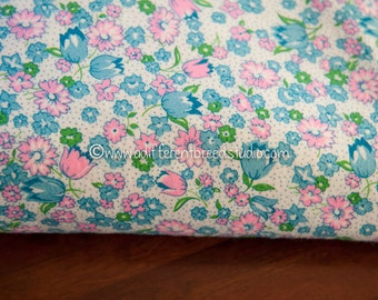 Mod Tulips and Daisies- Vintage Fabric 60s New Old Stock Flannel Geometric Pink Turquoise Fun