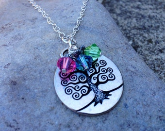 Family Necklace Tree of Life Birthstone Necklace-  Gift for Mom, Grandma, sterling silver, swarovski crystal
