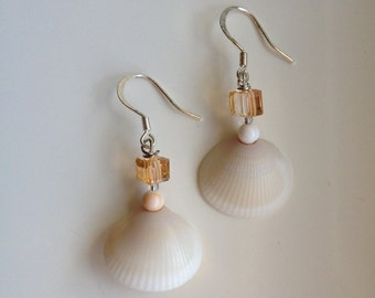 Bridesmaid gift seashell earrings beach wedding