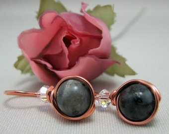 Black Labradorite  Crystal Copper Wire Wrapped Illusion Earrings Neutral Gray