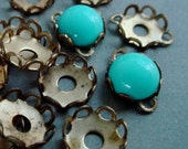 18 7mm Round Quality Vintage Solid Brass Lace Edge Bezel Settings Connectors 2mm Wall Flat Back Cabochon Cab Mounting Bare Raw Patina 11L