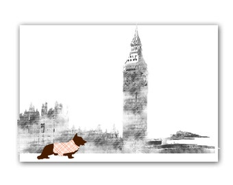 Corgi Dog In London City Art - Wall Print, Dog Art, Dog Gift Ideas, Dog in London, Gift For Corgi Lovers, Birthday Gift for Dog Lovers