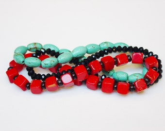 Trio of Bracelets / Turquoise / Coral / Black Crystal / Bright / Fun / Stack / Stacking / Bracelets / Stretchy / Semiprecious Stones