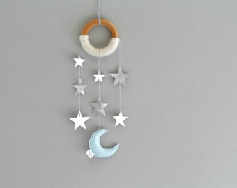Silver Star Wall Mobile for Nursery. Blue Moon Wall Hanging. Baby Dreamer Star Light Star Bright. Cascading Star Wall Mobile.