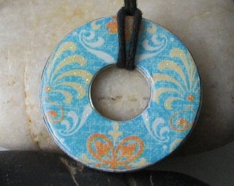 Stunning Aqua Blue Metallic Upcycled papers WASHER Hardware Pendant Necklace