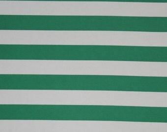 Green Peppermint stripes 1 yard cotton lycra knit