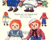 """Vintage 1950's 19"""" Stuffed Raggedy Ann and Andy Doll Pattern 820"""