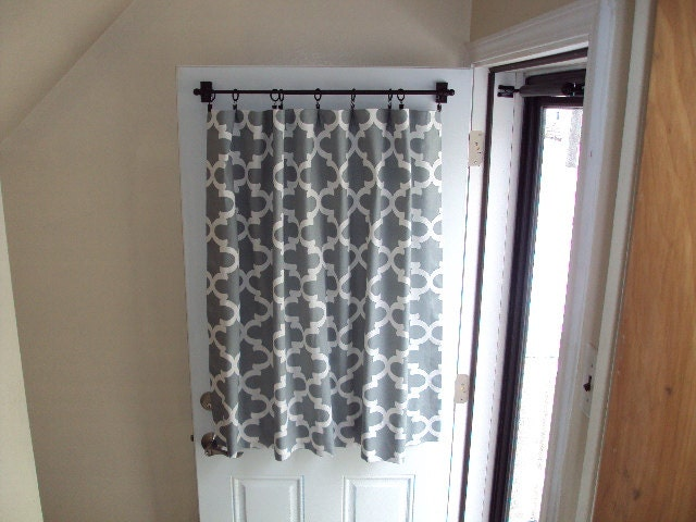 Back door front door window curtain custom by countrycustoms for Front door curtain ideas