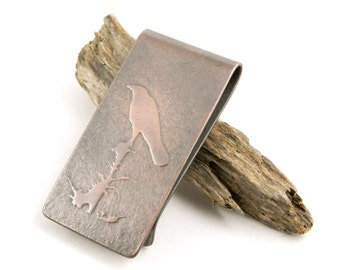 Raven money clip, copper money clip with embossed raven, personalize with optional engraving on back.