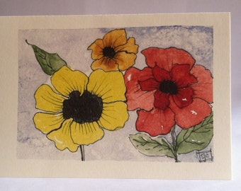 Sunny Flowers Watercolor Card