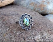 1970s Sterling Silver Faux Opal Pinky Sized Ring