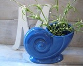 SALE Coastal Charm Nautical Indigo Cobalt Blue Vase Shell Trenton TAC Art Deco pottery RARE Craftsman Design nautilus shell