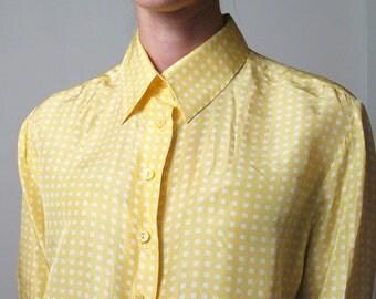YELLOW SILK blouse, s - m