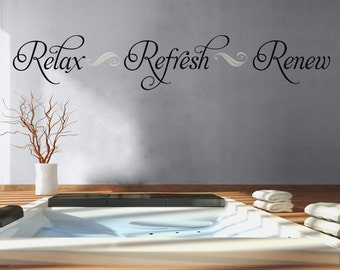 Nice Bathroom Wall Decal Relax Refresh Renew Bathroom Decor Vinyl Lettering  Bathroom Decal Spa Wall Decal Bathroom