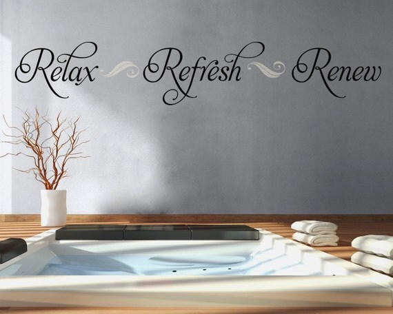 Bathroom Wall Decal Relax Refresh Renew Bathroom Decor Vinyl - Wall decals relax