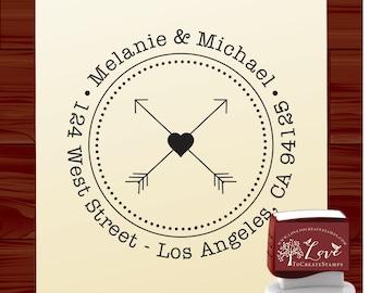 Bride and Groom Custom Address Stamp  - Mr and Mrs Self Inking Address Stamp - Arrow Heart Return Address Stamp (1194)