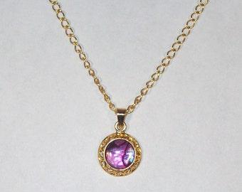 Pink Paua Shell Cabochon Necklace