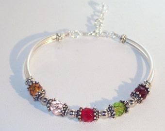 Swarovski Crystal Jewelry -  Mothers or Grandmothers Bracelet - Up to 5 Birthstones