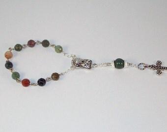 Gemstone Rosary - Fancy Jasper Pocket Rosary