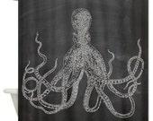 Vintage Blockprint Octopus Design Shower curtain on Chalkboard Background