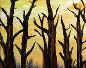 tree painting, original acrylic painting, Winter Dawn, painting by Elisa Alvarado, art