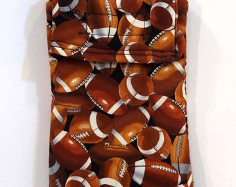 Cell Phone Case, Football gadget pouch, glasses case, Football print, velcro pouch