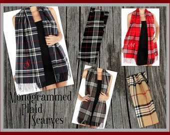 Monogrammed Plaid Scarf Cashmere Feel - Monogram Scarf | Gift for Her | Gift under 20 | Personalized Scarf | Tartan Plaid |