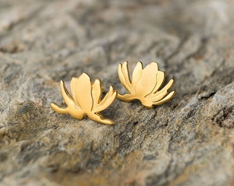 Lotus Earrings Flower Studs Sterling Silver Floral Water Lily Yoga lover Orchid Christmas holiday gift Black Friday Sale mom rose gold