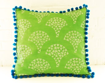 Green Block Printed Pillow