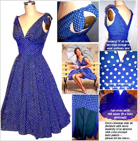 50s Shoulder Tie Hourglass Dress... Custom for you