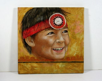 Vintage Painting on Canvas, Native American Boy with Red Beaded Headband