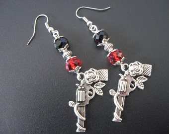Guns with Roses Jewelry, Guns with Roses Earrings, Rockabilly Jewelry, Rockabilly Earrings, Flower Jewelry, Flower Earrings, Goth Jewelry
