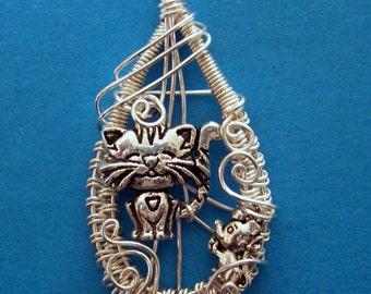 Wire Wrap Kitty Necklace, Wire Wrap Kitty Cat Necklace, Wire Wrap Cat Necklace, Wire Cat Necklace, Wire Kitty Necklace