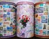 Decopauged USA STAMPS CONTAINER, Repurposed Quaker Oats Box,Shabby Chic Decor,Decoupaged Art Box,Yarn Storage1970s Crafty Box,Rose Petal