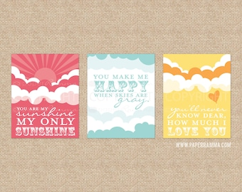 You are My Sunshine Nursery Lyric Prints / Kids Room Giclée Art Prints,3 Print Set, Custom match colors to nursery/room // N-G26-3PS AA1