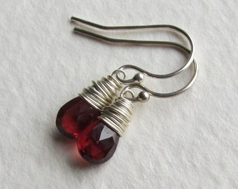 Petite Red Garnet Dangle Earrings - January Birthstone - Deep Crimson Wire Wrapped - Wedding Earrings