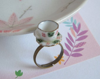 Tea Cup Ring, Classic Green And White, Tea Party Jewelry, Miniature Cup, Ceramic Cup