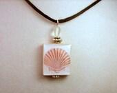 Shell Pendant / SCRABBLE Jewelry / Upcycled Handmade / Beaded Charm